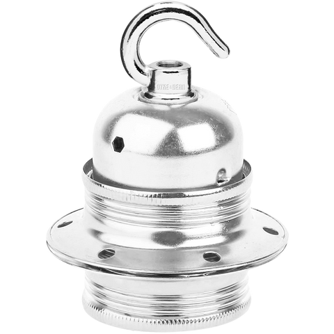 CHROME PLATED HOOKED E27 BULB HOLDER