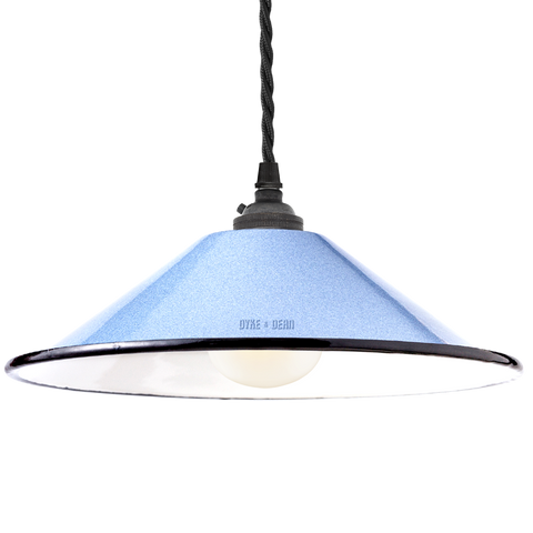 SMALL BLUE ENAMEL CONE SHADE