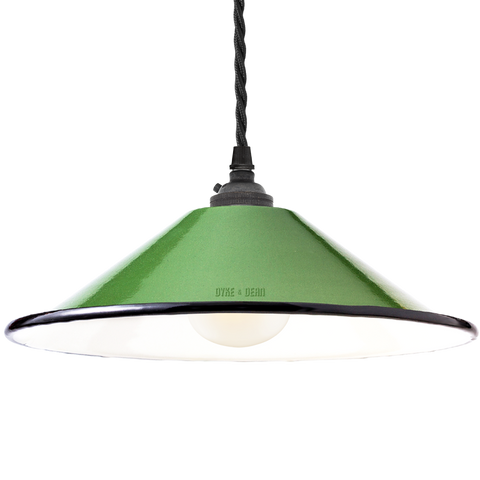 SMALL GREEN ENAMEL CONE SHADE