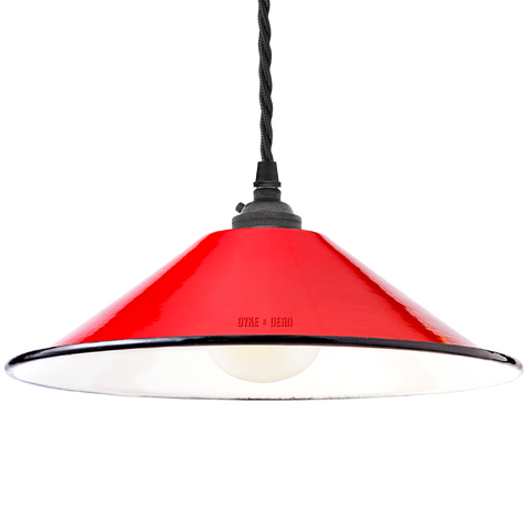 SMALL RED ENAMEL CONE SHADE