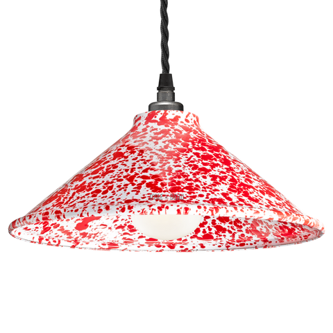 DYKE & DEAN SPLATTERWARE ENAMEL CONE SHADE RED