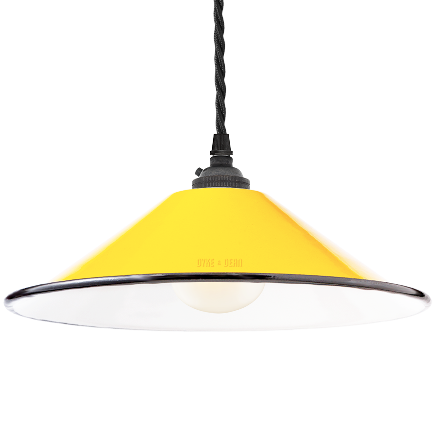 SMALL YELLOW ENAMEL CONE SHADE