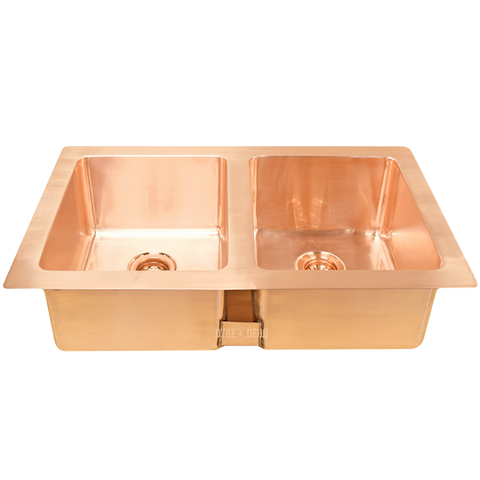 BRUSHED COPPER DOUBLE RECESSED SINK
