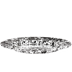BLACK ENAMEL SPLATTERWARE DINNER PLATE