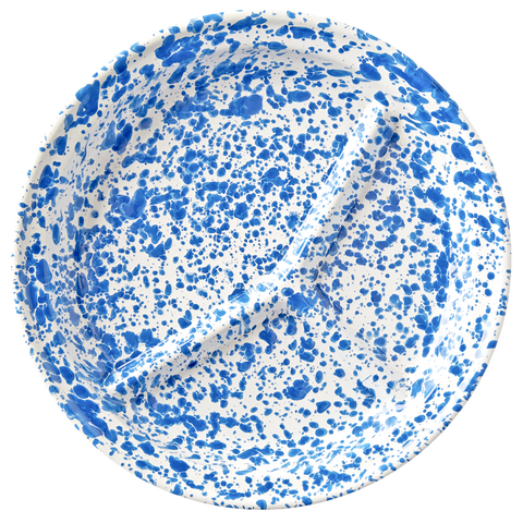 BLUE ENAMEL SPLATTERWARE CAMP PLATE
