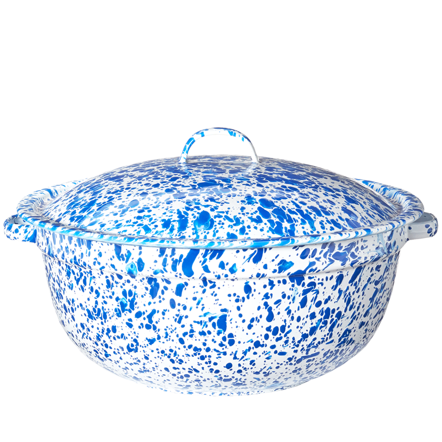 BLUE SPLATTERWARE ENAMEL CASSEROLE POT