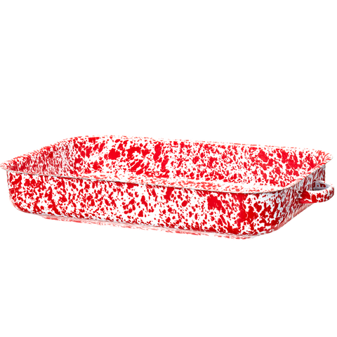 RECTANGULAR ROASTER RED MARBLE