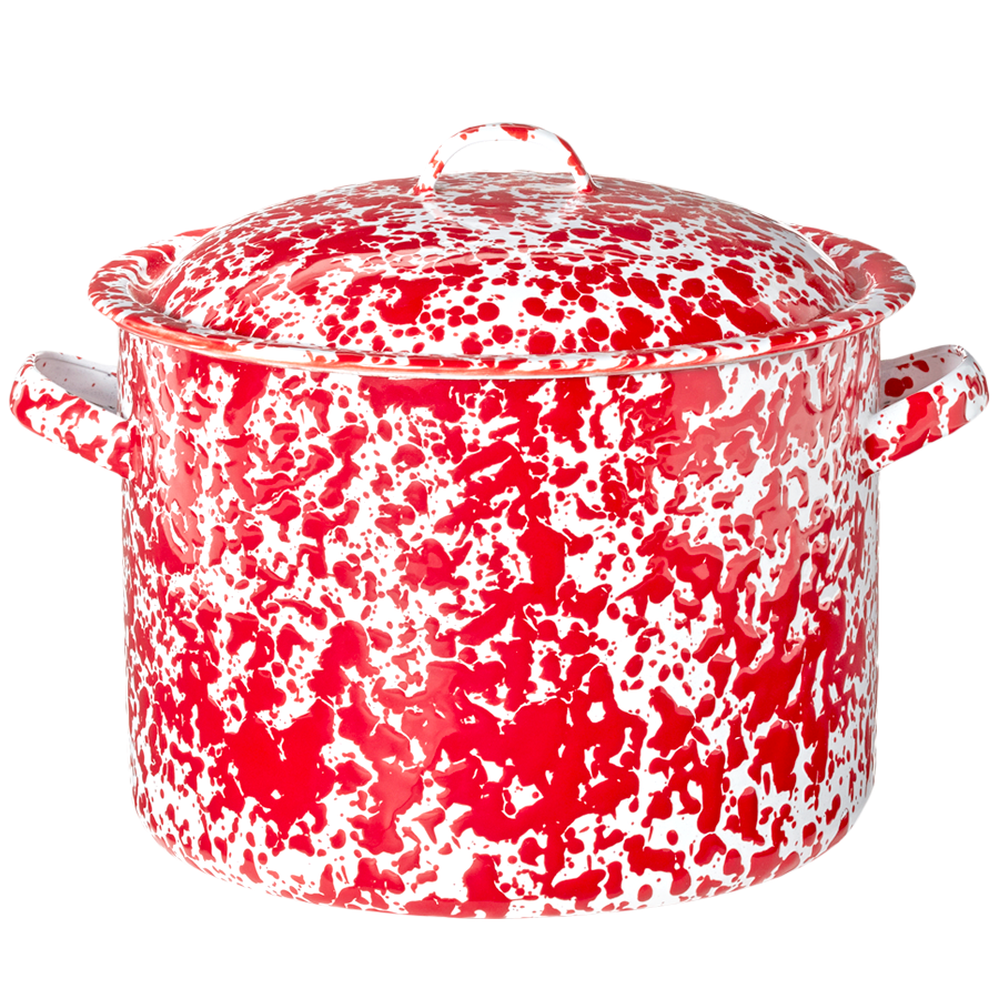 STOCK POT RED MARBLE