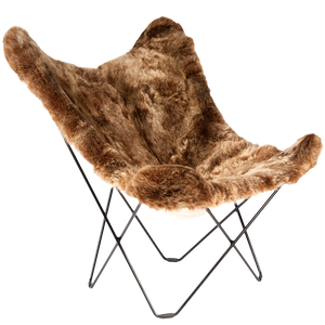 CUERO BUTTERFLY CHAIR BROWN SHEEPSKIN