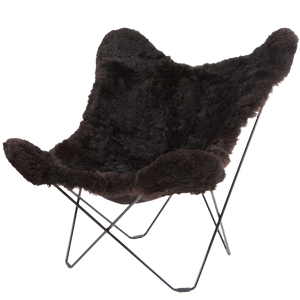CUERO BUTTERFLY CHAIR BLACK SHEEPSKIN