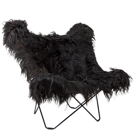 CUERO BUTTERFLY CHAIR LONG BLACK SHEEPSKIN