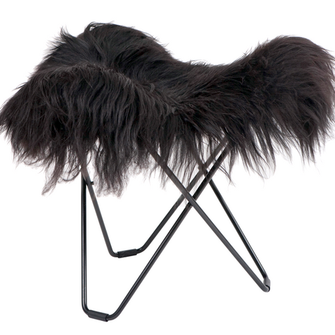 CUERO FLYING GOOSE STOOL BLACK LONG SHEEPSKIN