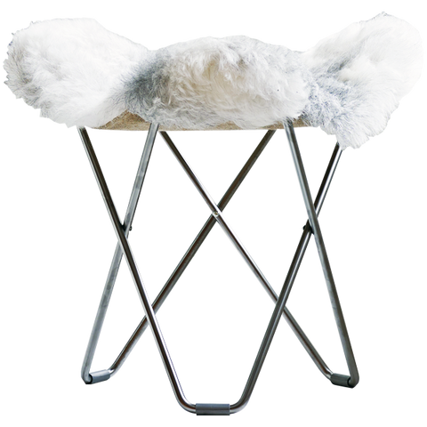 CUERO FLYING GOOSE STOOL GREY SHEEPSKIN