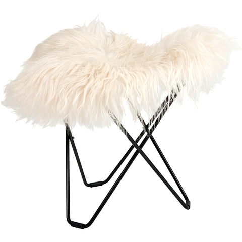 CUERO FLYING GOOSE STOOL WHITE LONG SHEEPSKIN