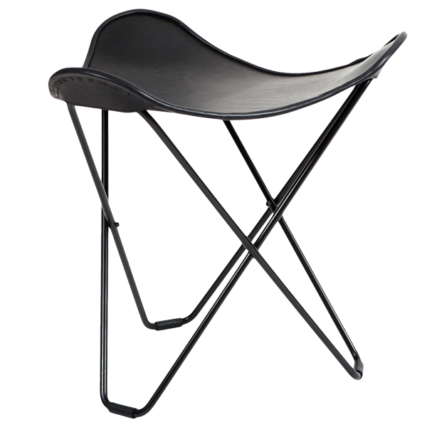 CUERO FLYING GOOSE STOOL BLACK LEATHER