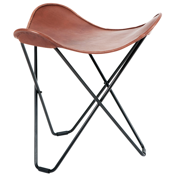 CUERO FLYING GOOSE STOOL CHOCOLATE LEATHER - LOUNGE CHAIRS - DYKE & DEAN  - Homewares | Lighting | Modern Home Furnishings