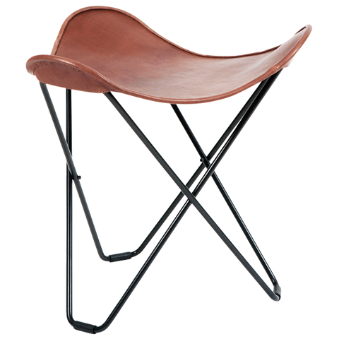 CUERO FLYING GOOSE STOOL CHOCOLATE LEATHER
