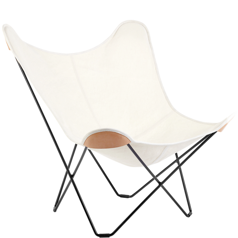 CUERO BUTTERFLY CHAIR NATURAL CANVAS