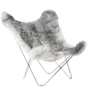 CUERO BUTTERFLY CHAIR GREY SHEEPSKIN