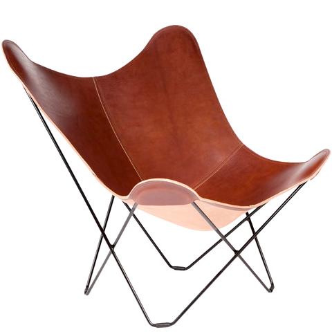 CUERO BUTTERFLY CHAIR BROWN LEATHER