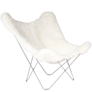 CUERO BUTTERFLY CHAIR WHITE SHEEPSKIN