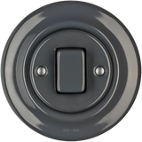 PORCELAIN WALL SWITCH DARK GREY FAT BUTTON