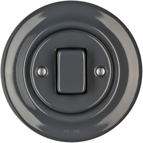 PORCELAIN WALL LIGHT SWITCH DARK GREY FAT BUTTON - PORCELAIN WALL SWITCHES - DYKE & DEAN  - Homewares | Lighting | Modern Home Furnishings