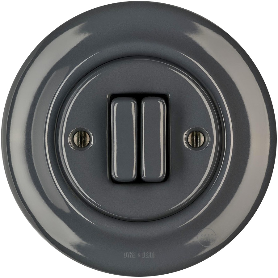 PORCELAIN WALL SWITCH DARK GREY DOUBLE