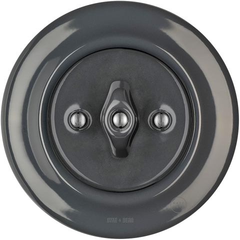 PORCELAIN WALL LIGHT SWITCH DARK GREY ROTARY - PORCELAIN WALL SWITCHES - DYKE & DEAN  - Homewares | Lighting | Modern Home Furnishings