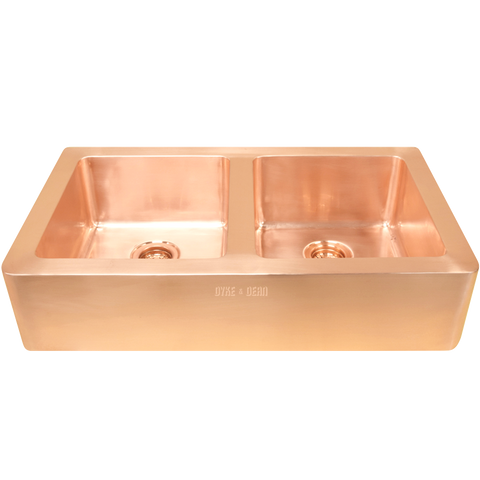BRUSHED COPPER DOUBLE SINK