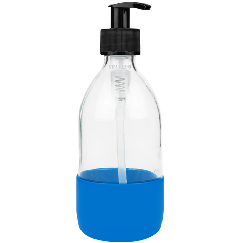 REFILL CLEAR GLASS SOAP PUMP BLUE RUBBER