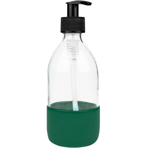 REFILL CLEAR GLASS SOAP PUMP GREEN RUBBER