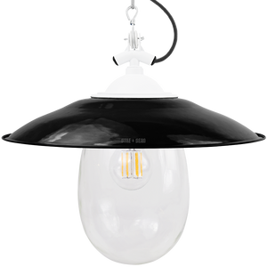 BLACK ENAMEL SHADED WHITE  BELL JAR LIGHT