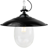 BLACK ENAMEL SHADED BELL JAR LIGHT