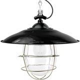 BLACK ENAMEL SHADED BELL JAR LIGHT BRASS CAGE
