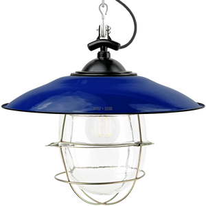 BLUE ENAMEL SHADED BELL JAR LIGHT BRASS CAGE