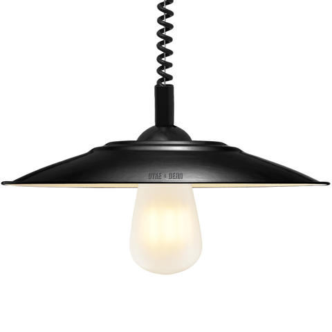 FLAT BLACK ENAMEL RETRACTABLE CORD LIGHT