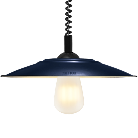 FLAT BLUE ENAMEL RETRACTABLE CORD LAMP - DYKE & DEAN