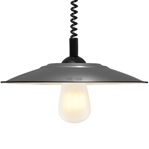 FLAT GREY ENAMEL RETRACTABLE CORD LAMP - DYKE & DEAN