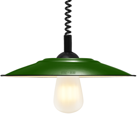 FLAT GREEN ENAMEL RETRACTABLE CORD LAMP - DYKE & DEAN