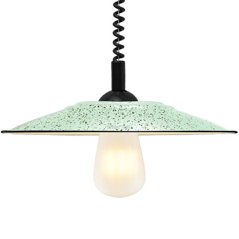 FLAT MINT GREEN SPECKLED ENAMEL RETRACTABLE CORD LAMP