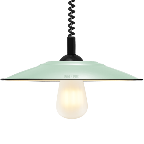 FLAT MINT GREEN ENAMEL RETRACTABLE CORD LAMP - DYKE & DEAN