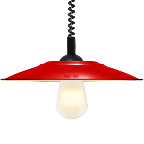 FLAT RED ENAMEL RETRACTABLE CORD LAMP
