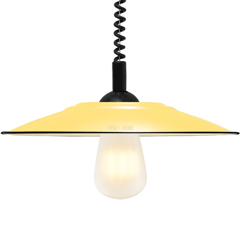 FLAT CUSTARD ENAMEL RETRACTABLE CORD LAMP - DYKE & DEAN