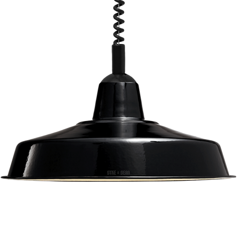 LARGE BLACK ENAMEL RETRACTABLE CORD LAMP - DYKE & DEAN