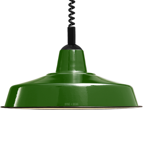 LARGE GREEN ENAMEL RETRACTABLE CORD LAMP - DYKE & DEAN