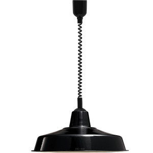 LARGE BLACK ENAMEL RETRACTABLE CORD LAMP