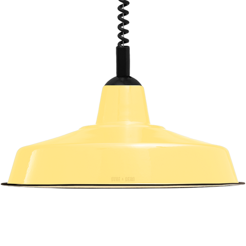 LARGE CUSTARD ENAMEL RETRACTABLE CORD LAMP - DYKE & DEAN