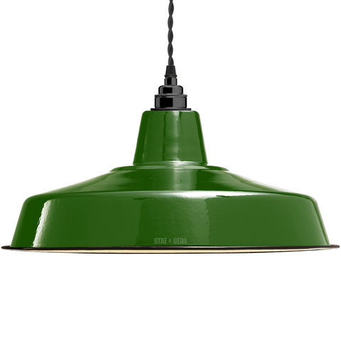 LARGE GREEN ENAMEL SHADE - LAMPSHADES - DYKE & DEAN  - Homewares | Lighting | Modern Home Furnishings