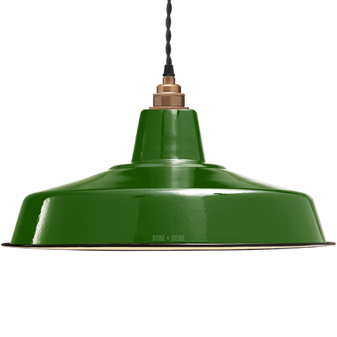 LARGE GREEN ENAMEL SHADE
